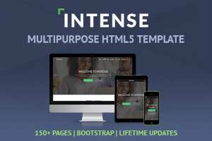 intense a fully featured multipurpose responsive bootstrap template containing 20 portfolio pages 23 blog pages 11 shop pages 55 pages for components